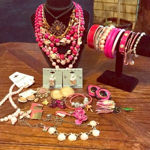 40 piece pink jewelry lot